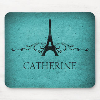 Vintage French Flourish Mousepad, Teal Mouse Pad
