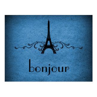 Vintage French Flourish Postcard, Blue Postcard