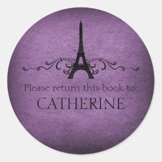 Vintage French Flourish Stickers, Purple Round Sticker