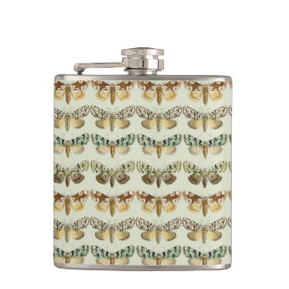 Vintage French Moths Hip Flask