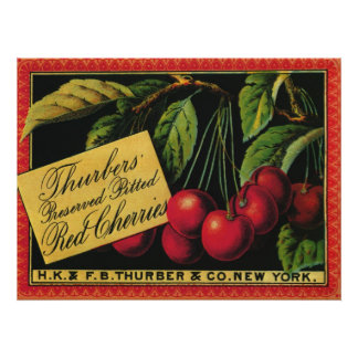 Vintage Fruit Crate Label Art, Thurber Cherries Poster