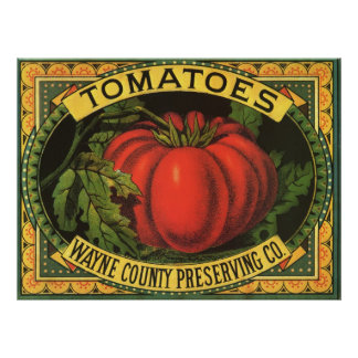 Vintage Fruit Crate Label Art, Wayne Co Tomatoes Poster