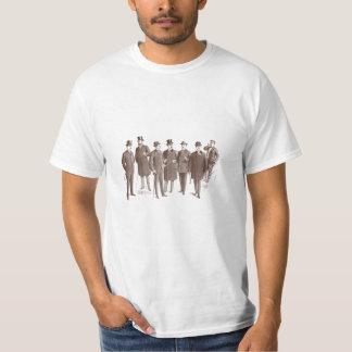 Vintage Gentlemen 1800s Men's Fashion Brown White T-shirts
