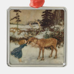 Vintage Gerda and the Reindeer by Edmund Dulac Silver-Colored Square Decoration