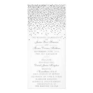 Vintage Glam Silver Confetti Wedding Program Cards Full Colour Rack Card