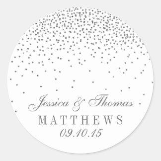 Vintage Glam Silver Confetti Wedding Stickers