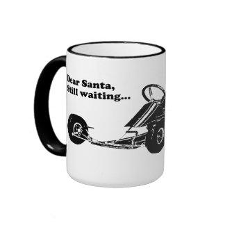 Vintage Go-Kart - Dear Santa, Still waiting... Ringer Mug