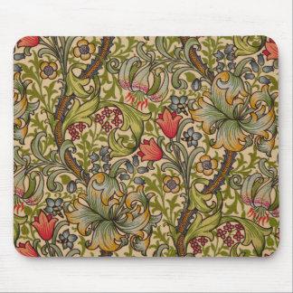 Vintage Golden Lilly Floral Design William Morris Mouse Pad