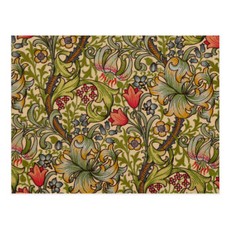 Vintage Golden Lilly Floral Design William Morris Postcard