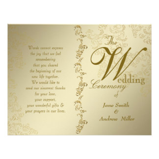 vintage golden wedding programs 21.5 cm x 28 cm flyer