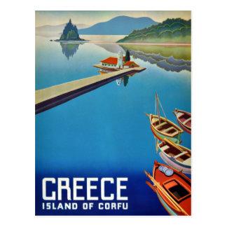Vintage Greece Travel - Island of Corfu Postcard