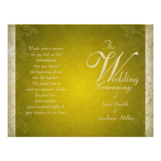 Vintage green wedding programs 21.5 cm x 28 cm flyer