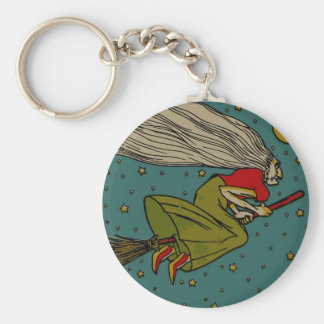 Vintage Halloween, Evil Witch Flying on Broomstick Basic Round Button Key Ring