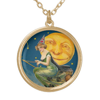 Vintage Halloween Flying Witch Round Pendant Necklace