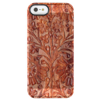 Vintage Hand Carved Wood Clear iPhone SE/5/5s Case
