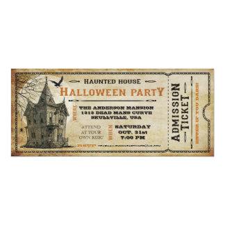 Vintage Haunted House Halloween Party Ticket I 10 Cm X 24 Cm Invitation Card