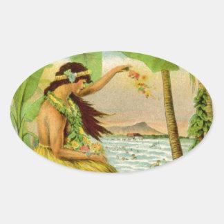 Vintage Hawaiian Travel Oval Sticker