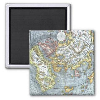Vintage Heart Shaped Antique World Map Peter Apian Square Magnet