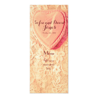 Vintage Heart Shaped Ring Box & Old Lace Menu Card 10 Cm X 24 Cm Invitation Card