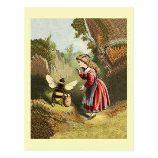 Vintage Honey Bee With Girl Postcard