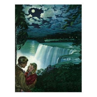 Vintage Honeymoon Love, Newlyweds at Niagara Falls Postcard