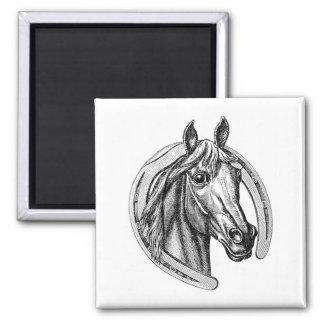 Vintage Horse & Horseshoe Fridge Magnet