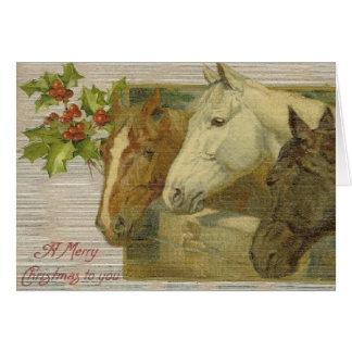 Vintage Horses Christmas Greeting Card