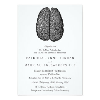 Vintage Human Brain Illustration 13 Cm X 18 Cm Invitation Card