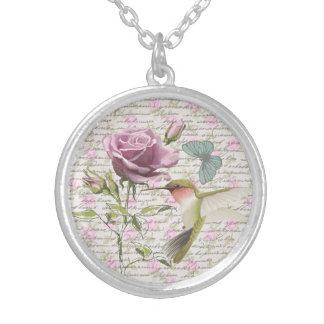 Vintage Hummingbird Butterfly and Rose Round Pendant Necklace