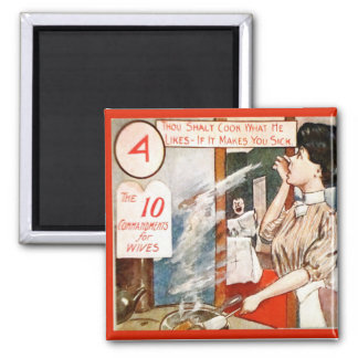 Vintage humour, Ten commandments for women Square Magnet