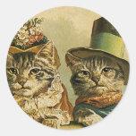 Vintage Humour, Victorian Bride Groom Cats in Hats Round Sticker