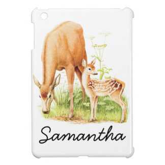 Vintage Illustration, Mother and Baby Deer iPad Mini Cover