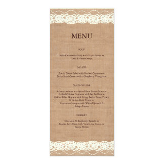 Vintage Ivory Lace & Medium Burlap Menu 10 Cm X 24 Cm Invitation Card