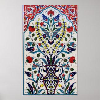 Vintage Iznik Ottoman Ceramic Tile Poster