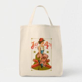 Vintage July 4th Grocery Tote Bag