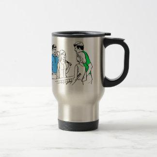 Vintage Kitsch 60s DoublesTennis Players Stainless Steel Travel Mug