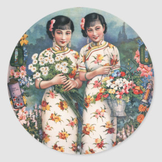 Vintage Kitsch Asian Advertisement Girls Round Sticker