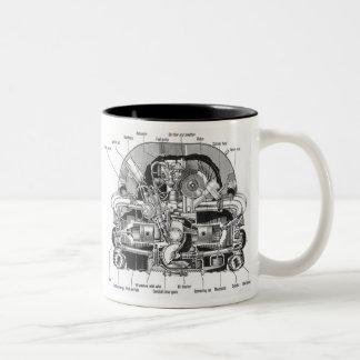 Vintage Kitsch Auto Engine Motor Illustration Two-Tone Mug