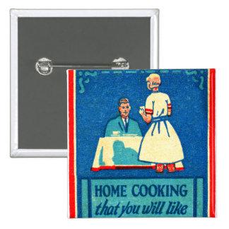 Vintage Kitsch Home Cooking 30s Matchbook 15 Cm Square Badge