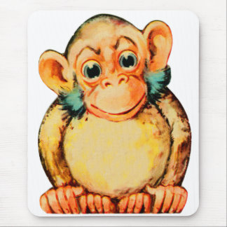 Vintage Kitsch Monkey Chimp Seemonkee Mouse Pad