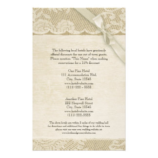 Vintage Lace and Burlap Information Page Custom Stationery