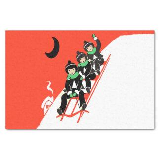 "Vintage Little Boys Sledding Snow Moon House 10"" X 15"" Tissue Paper"