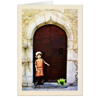 Vintage little girl with green frog. greeting card