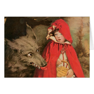 Vintage Little Red Riding Hood and Big Bad Wolf Greeting Card