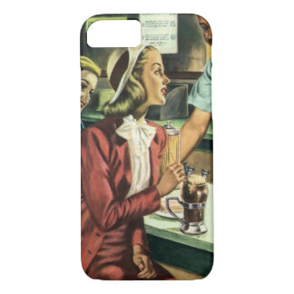 Vintage Love and Romance, Lady at the Soda Shop iPhone 7 Case