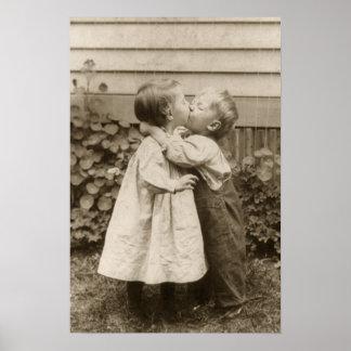 Vintage Love Romance, Children Kissing, First Kiss Poster