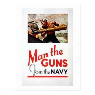 Vintage Man The Guns, Join the Navy Recruitment Po Postcard