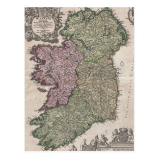 Vintage Map of Ireland (1716) Postcard
