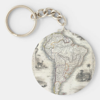 Vintage Map of South America (1850) Basic Round Button Key Ring