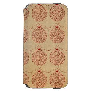 Vintage Merry Christmas Ornaments Pattern Incipio Watson™ iPhone 6 Wallet Case